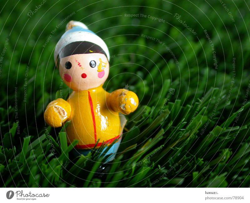 Wo bleibt der Schnee? Weihnachten & Advent grün Einsamkeit Wiese Gras Rasen Kitsch verloren Skifahrer Weihnachtsdekoration Zwerg staunen Gartenzwerge Figur