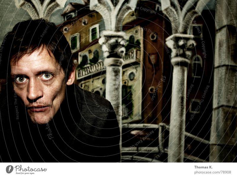 Sunken Cheeks (oder Gemälde Wange dünn Fresken Blick Glubschauge Venedig Wandmalereien Porträt Gesicht Mann Kopf Auge Haare & Frisuren Mund Nase Säule