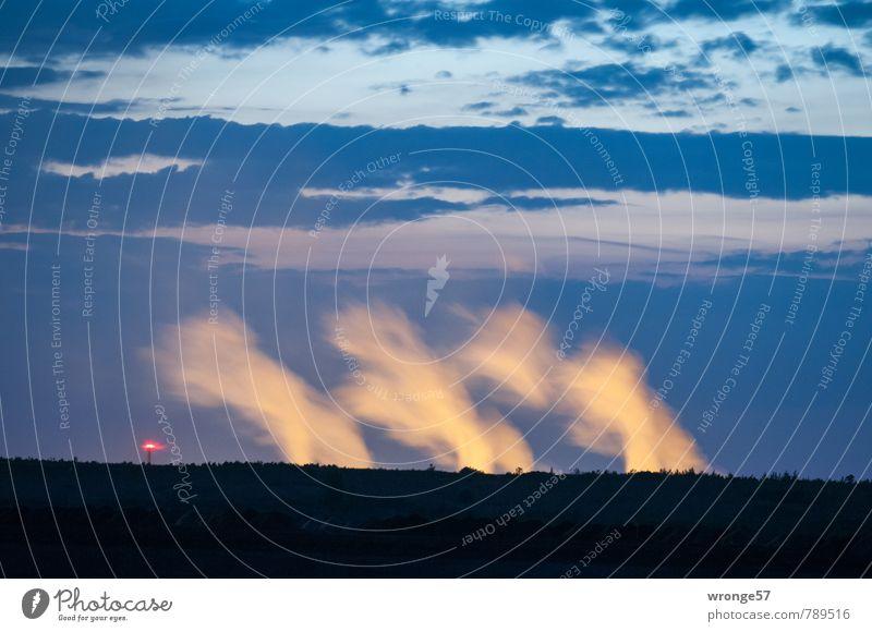 Feuerteufel blau Stadt schwarz dunkel Umwelt gelb außergewöhnlich hell Horizont Energiewirtschaft Deutschland Europa Industrie Abenddämmerung Abgas