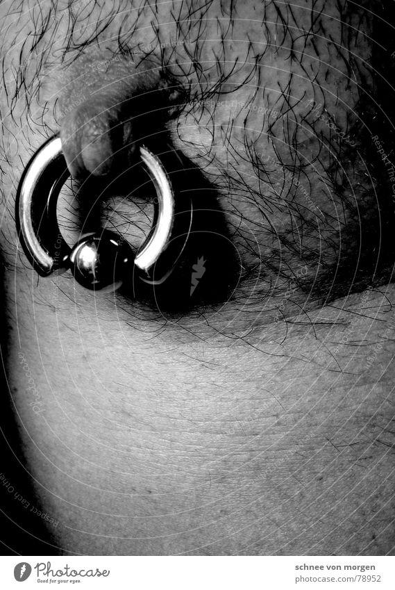 8 mm Brustwarze Pornostar Brustumfang dünn Brustkorb Bodybuilder Rostfreier Stahl Piercing Edelstahl schwarz Mann maskulin grau Schmerz nackt Fell Gänsehaut