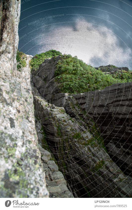 N O R W A Y - 604 - V Natur Ferien & Urlaub & Reisen Wasser Sommer Landschaft Umwelt Berge u. Gebirge oben Angst Tourismus wandern gefährlich Ausflug Abenteuer