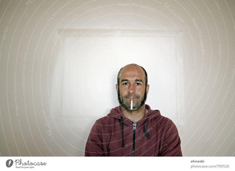 Bild im Bild Häusliches Leben Renovieren Tapete Mensch maskulin Mann Erwachsene Bruder 1 30-45 Jahre Bilderrahmen Zigarette Rauchen Coolness lustig Farbfoto