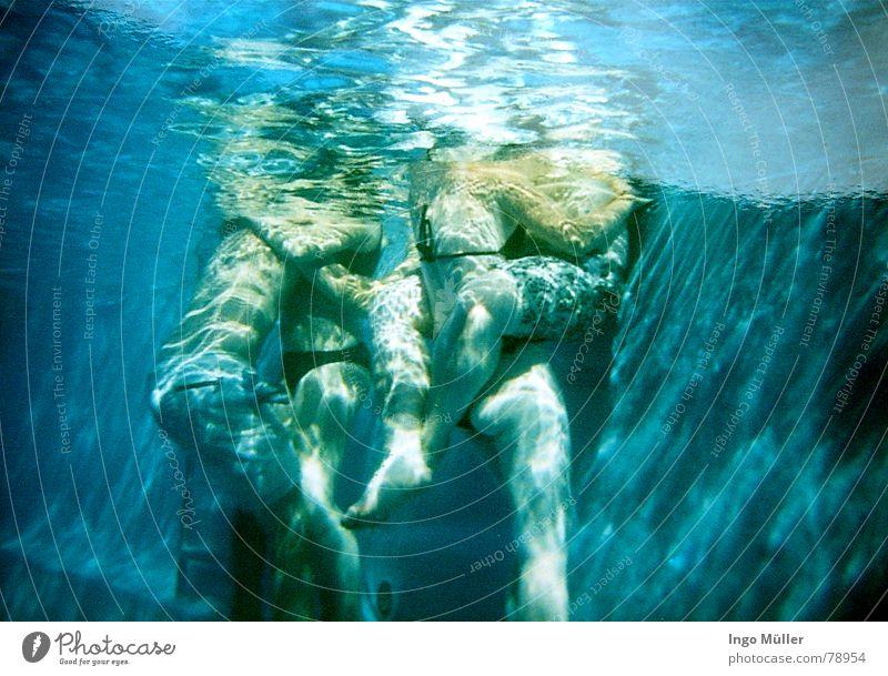 Meerjungpaare Schwimmbad 4 2 Küssen Sommer vertraut Froschperspektive Mann Frau Badehose Wasser Liebe nah Unterwasseraufnahme Reflexion & Spiegelung Paar pikini