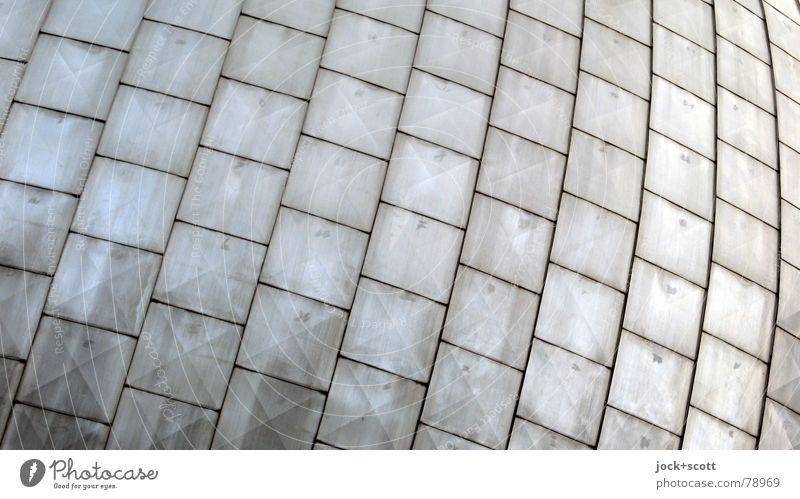 Hüll_e Architektur Fassade Dach Metall Linie modern Ordnung Oberfläche dreidimensional flach Abstufung Quadrat Grenze Format Patina Hülle Bogen Reihe DDR