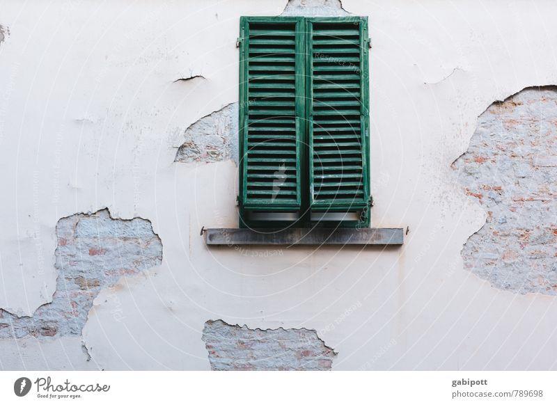 Ein schönes Fleckchen Hauswand Ferien & Urlaub & Reisen alt grün Haus Fenster Wand Mauer grau Fassade Häusliches Leben Perspektive geschlossen Wandel & Veränderung Vergänglichkeit verfallen Dorf