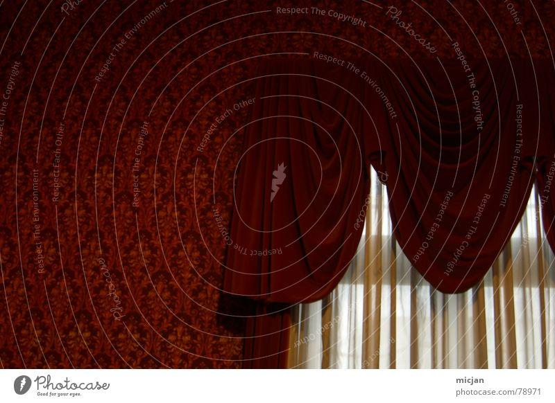 Ommis olle Gardine Häusliches Leben Dekoration & Verzierung Tapete Fenster Stoff Glas träumen dunkel retro rot Wand durchsichtig flach Farbton Hintergrundbild
