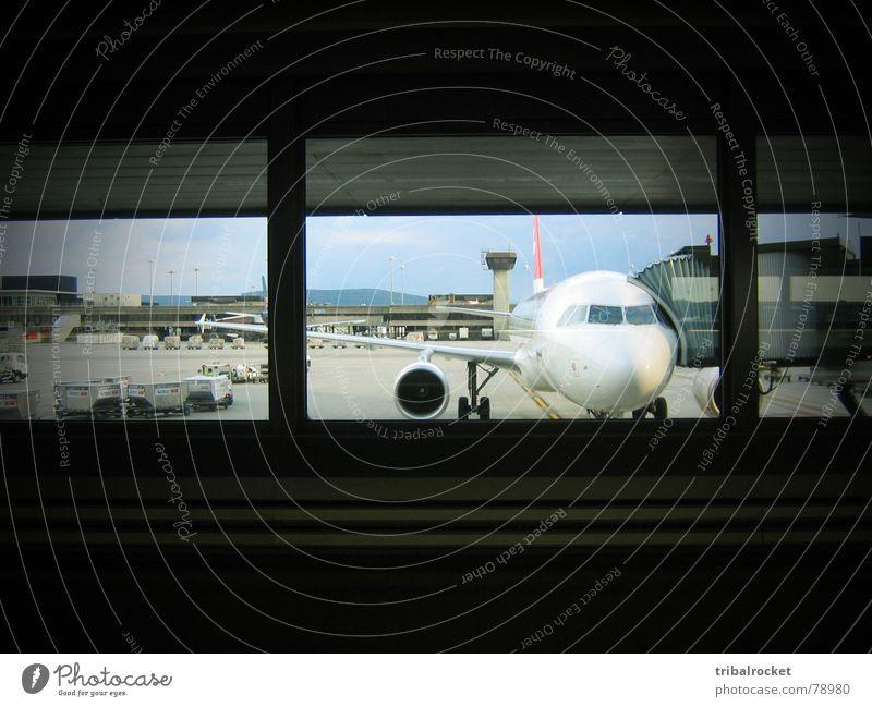Fenster zur weiten Welt Fenster Flugzeug fliegen Verkehr Schweiz Flughafen unterwegs Düsenflugzeug Zürich Fluggerät Passagierflugzeug Schaltpult