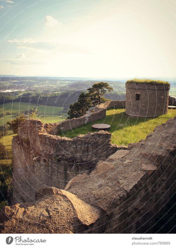 Burgmauern Landschaft Horizont Sommer Schönes Wetter Baum Gras Wiese Feld Hügel Burg oder Schloss Ruine Bauwerk Gebäude Mauer Wand alt dick historisch wehrhaft