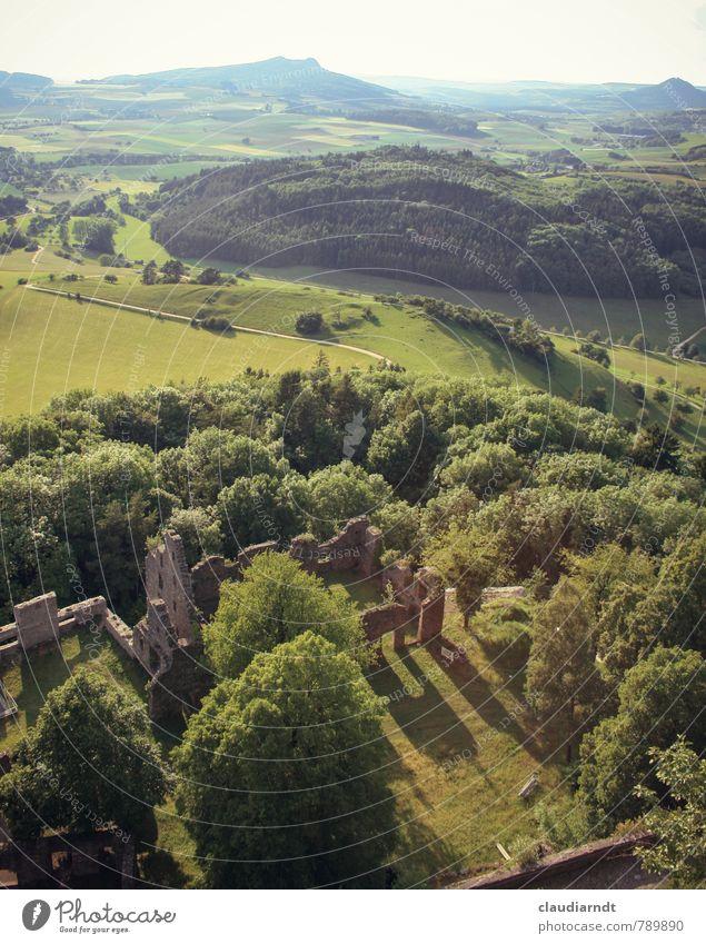 Schatten der Vergangenheit Natur alt grün Sommer Baum Landschaft Wald Umwelt Berge u. Gebirge Wand Wiese Mauer Gebäude Feld Schönes Wetter historisch