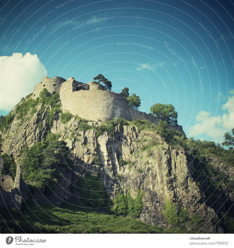 Hohentwiel Landschaft Himmel Wolken Sommer Schönes Wetter Baum Felsen Burg oder Schloss Ruine Bauwerk Architektur Mauer Wand Sehenswürdigkeit alt historisch