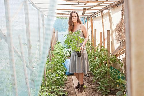 tomatenhaus Mensch Frau Natur Pflanze Sommer Umwelt Erwachsene feminin Gebäude natürlich Garten Arbeit & Erwerbstätigkeit authentisch frisch Schönes Wetter