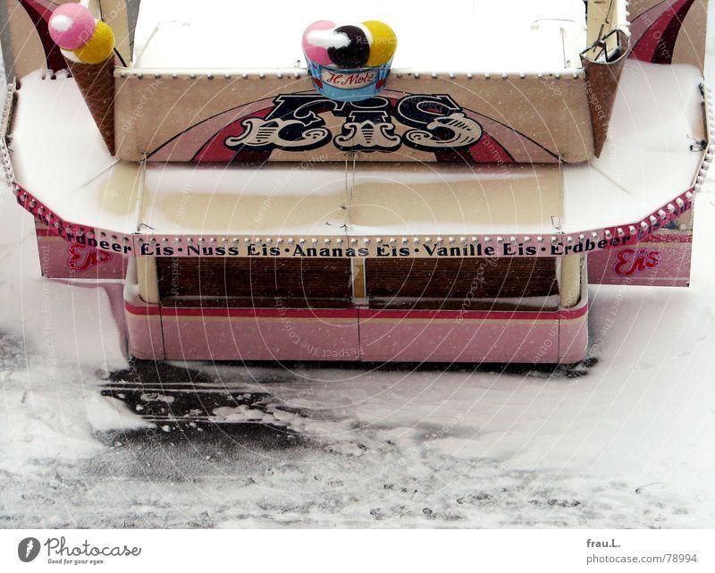 Eiszeit kalt Speiseeis Winter Jahrmarkt geschlossen Schausteller Eisbude Eiskugel Schützenfest Vanille Ananas Dom Schnee Erdbeeren winterdom