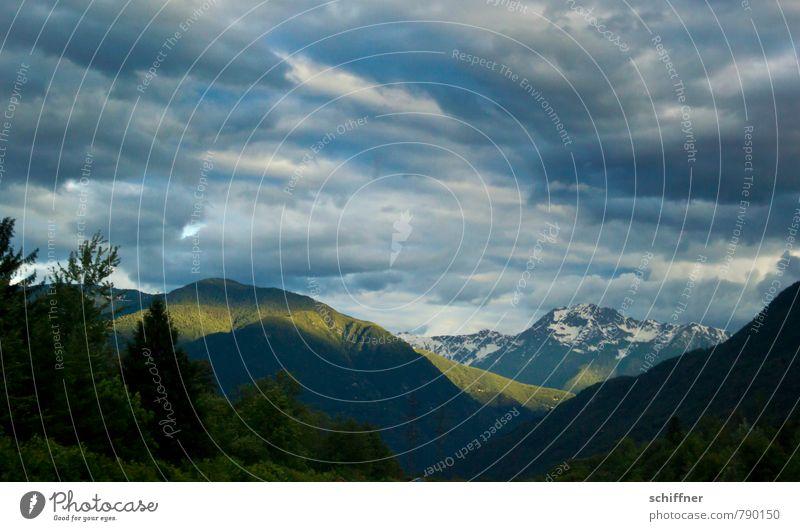 Streiflicht Natur blau Pflanze Landschaft Wolken dunkel Wald Umwelt Berge u. Gebirge Felsen Wetter Wind Klima Schönes Wetter Gipfel Alpen