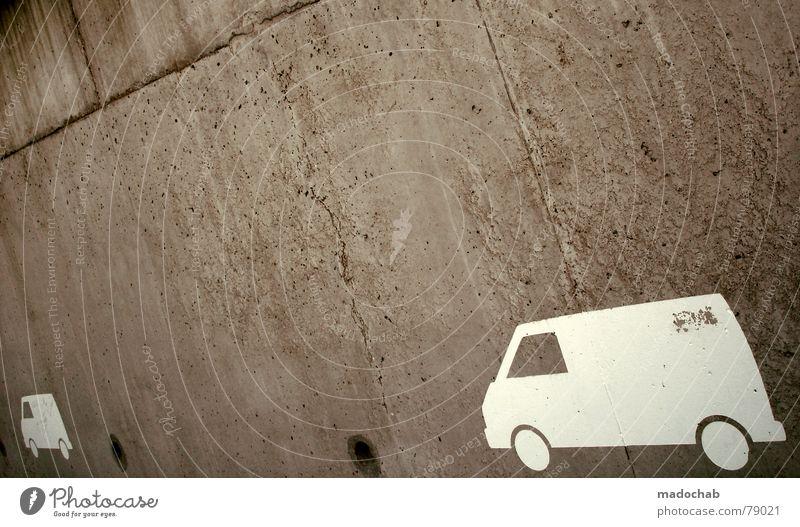 VERFOLGUNGSWAHN Wand Mauer grau dreckig KFZ PKW Lastwagen Kleintransporter Lieferwagen Ikon einfach Parkplatz Stadt graphisch Loch weiß Piktogramm Krimineller