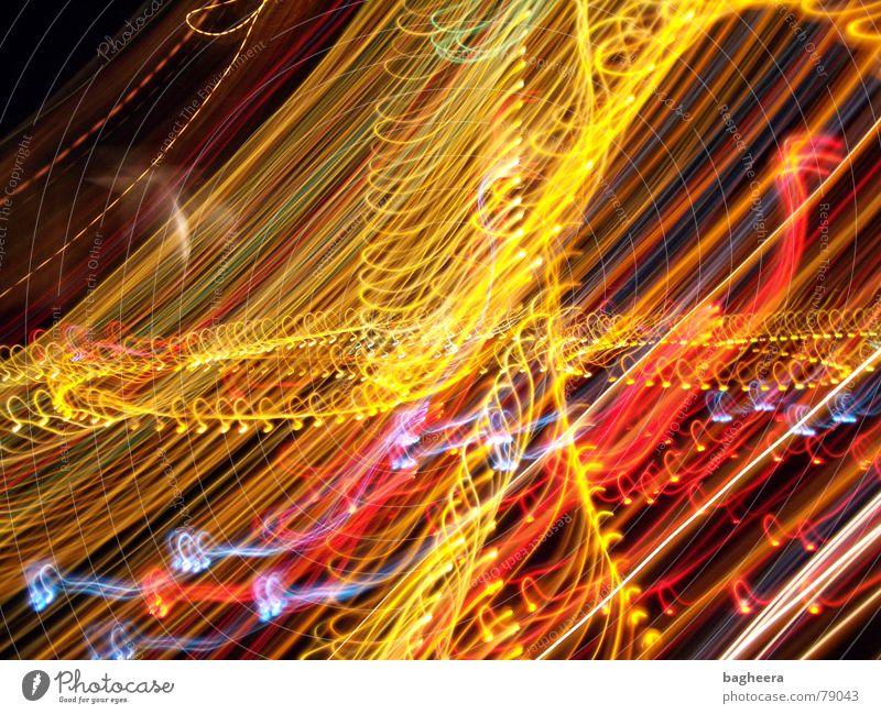 Lichtshow Farbe Linie Kreis durcheinander Spirale geschwungen
