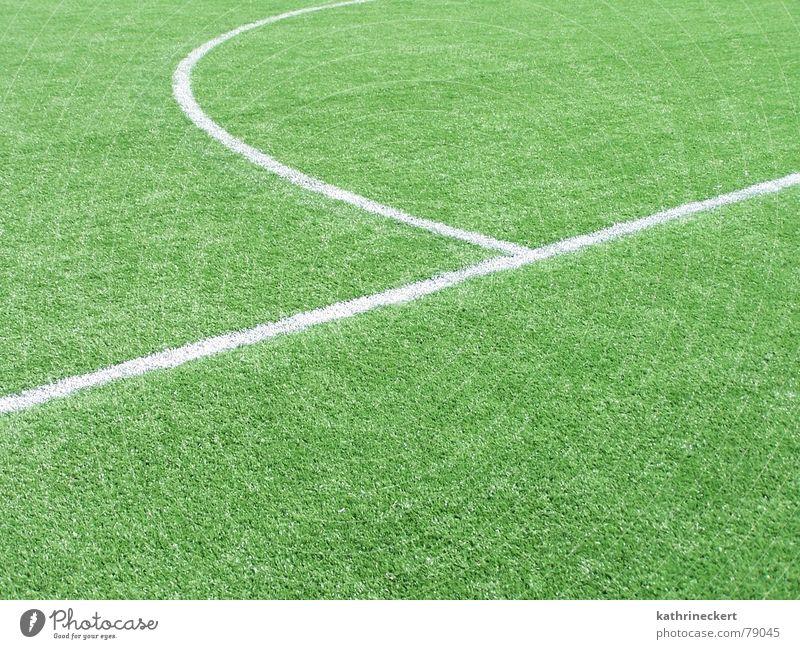 Ein Spiel dauert immer 90 Minuten grün Sport Spielen Linie Fußball Rasen Tor Fan Kunstrasen