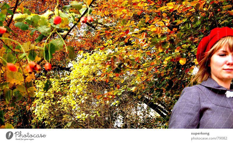 009 Frau Rotkäppchen Baum Blatt Herbst Einsamkeit Denken Schüchternheit Fröhlichkeit verträumt Porträt Feld Stil Naturliebe Dame Mitgefühl Flüchtiger Blick