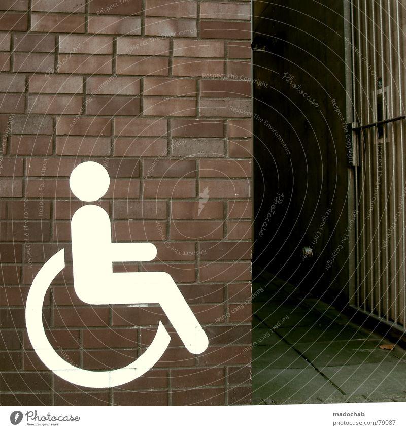 BEHINDERUNG Behinderte Behindertengerecht pflegebedürftig Rollstuhl Wehrersatzdienst Ikon Mauer Eingang Nachteil Vorteil unfair Toleranz Mensch Barriere