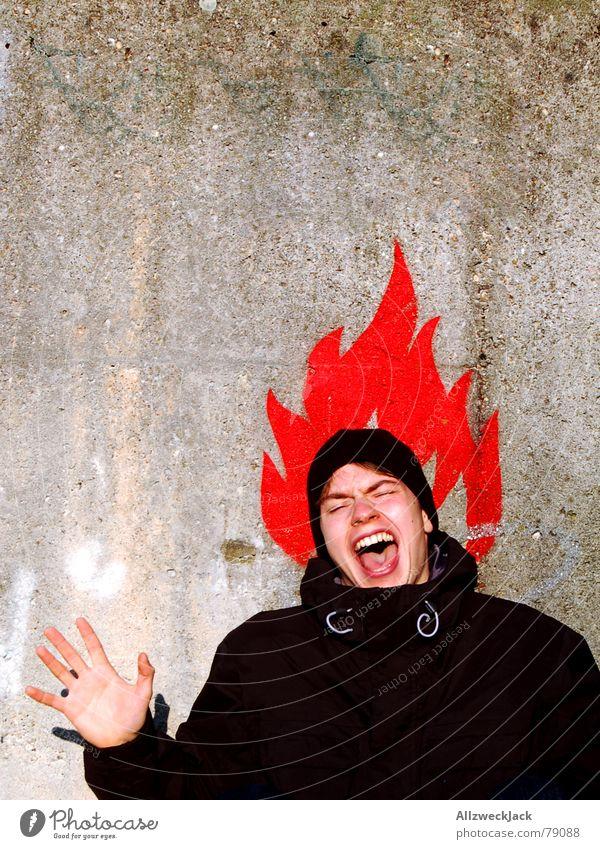 Pumuckl Ausruf Schreihals Kopfschmerzen Mensch Mann Wand Mauer Symbole & Metaphern schreien anzünden Hand rot Junger Mann Brand Porträt zündeln Angst Panik