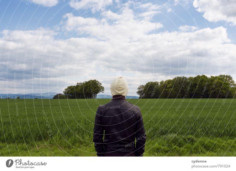 Den Kopf frei kriegen Mensch Junger Mann Jugendliche Leben 18-30 Jahre Erwachsene Umwelt Natur Landschaft Himmel Sommer Schönes Wetter Baum Gras Feld ästhetisch