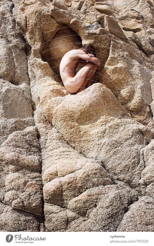 Im Stein schön Gesundheit Wellness Leben harmonisch Wohlgefühl Erholung ruhig Mensch Junger Mann Jugendliche Körper 18-30 Jahre Erwachsene Felsen Beginn