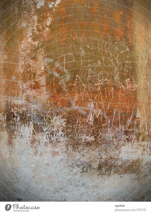 Auf den Putz gehaun alt Farbe Wand Mauer Kunst Suche Schriftzeichen Hoffnung Vergänglichkeit Information verfallen Gemälde Typographie trashig Putz Lust