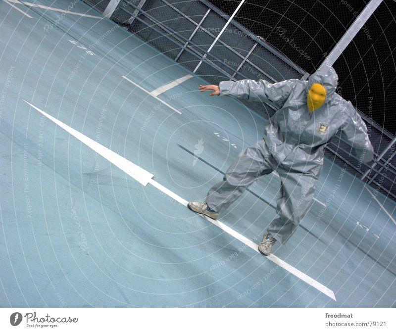 grau™ surfin on an arrow blau Freude gelb lustig Kunst verrückt Spitze Maske Pfeil dumm Anzug Surrealismus Gummi Parkhaus Reifenspuren