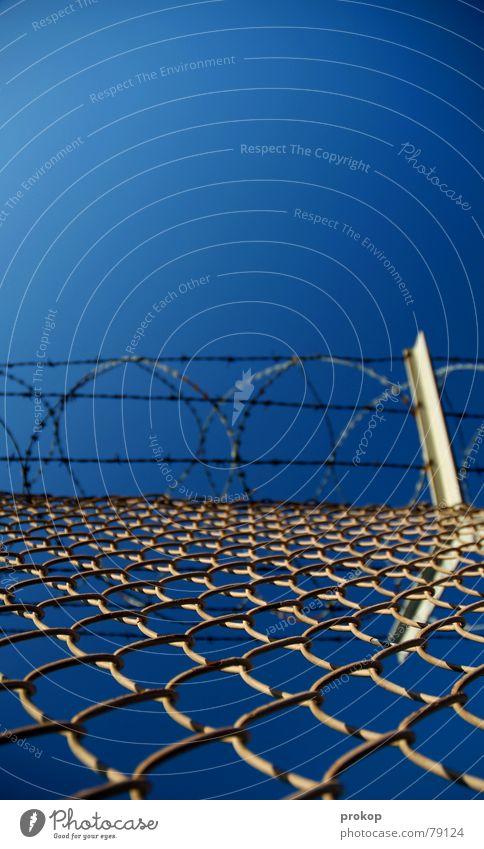 Hürdenlauf in lebensnah Himmel Winter Freiheit frei gefährlich bedrohlich Unendlichkeit Konzentration Stahl Zaun gefangen Draht Stacheldraht Extremsport