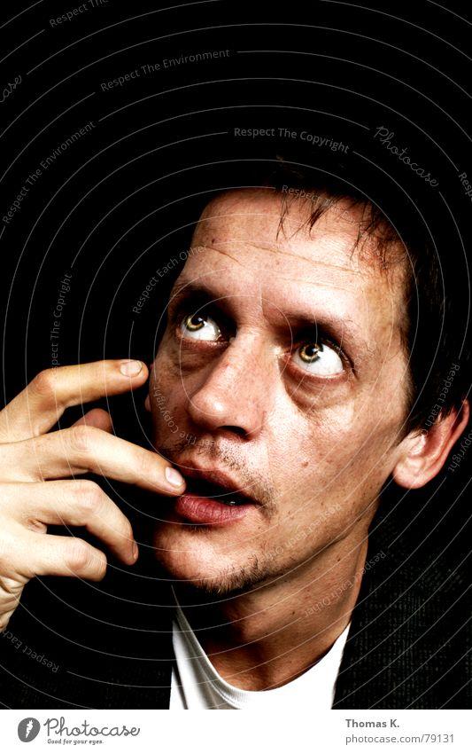 Na gut, eins hab ich noch..(oder: ähmmm..wie soll ich schauen ?) Mensch Mann Gesicht schwarz Auge dunkel Stil Haare & Frisuren Kopf Mund Kraft Angst lustig planen Nase verrückt