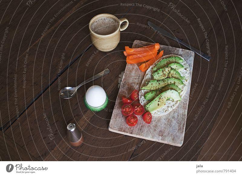 frühstück Lebensmittel Gemüse Brötchen Tomate Paprika Avocado Hühnerei Kochsalz Ernährung Frühstück Getränk Heißgetränk Kakao Löffel Schneidebrett