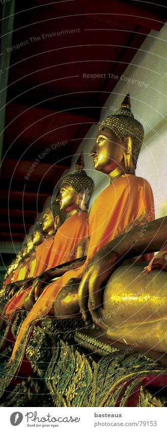 Buddhas Religion & Glaube Kunst Perspektive Kultur Statue Reihe Thailand Buddhismus Bangkok