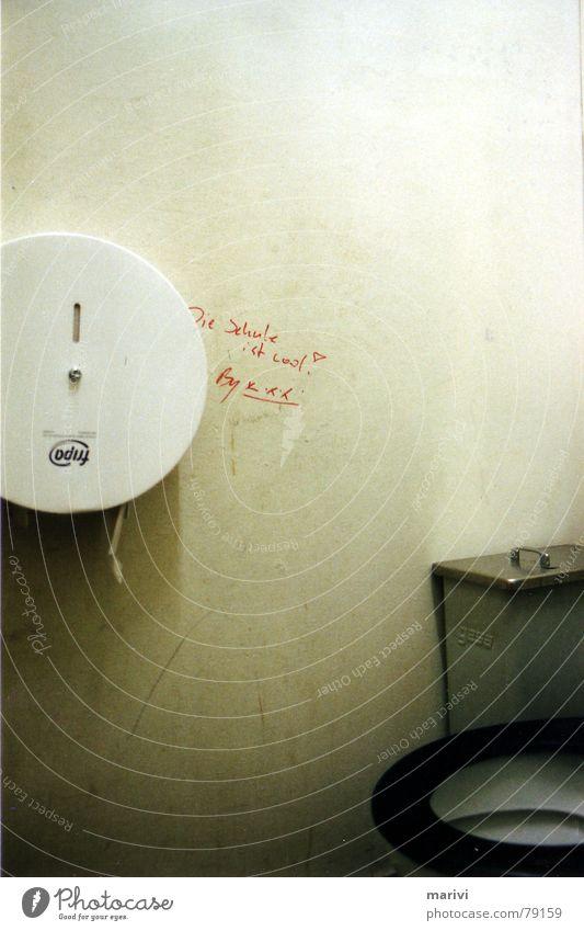 coole schoole Toilettenpapier Müllbehälter Redewendung Wandmalereien WCsitz rund positiv fantastisch Freude lässig Schulgebäude beeindruckend unbeobachtet