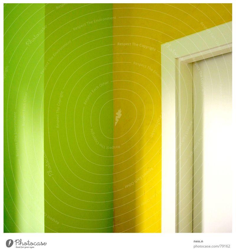 Frische Küche grün Farbe gelb Innenarchitektur Wohnung Tür Häusliches Leben modern frisch Ecke Sauberkeit Küche streichen rein fruchtig Türrahmen