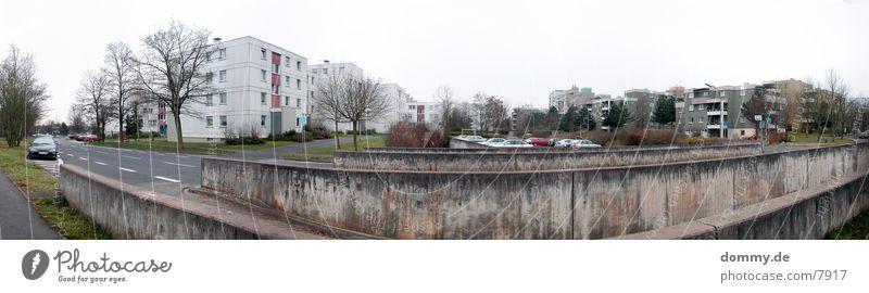 StreetPANORAMA Straße PKW groß Verkehr Sträucher Parkplatz Panorama (Bildformat) Verzerrung