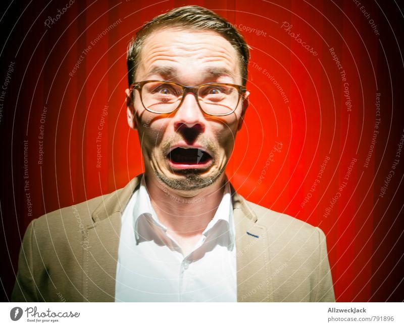 echte Emotionen maskulin Junger Mann Jugendliche Erwachsene 1 Mensch 30-45 Jahre Hemd Anzug Jacke Brille brünett kurzhaarig gruselig nerdig Angst Schüchternheit