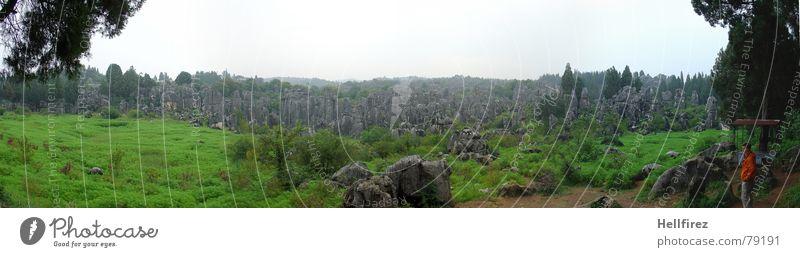 Steinwald Natur Himmel weiß grün Berge u. Gebirge grau Landschaft groß Felsen Bulgarien Aussicht Asien China Yunnan Panorama (Bildformat) Chinesisch