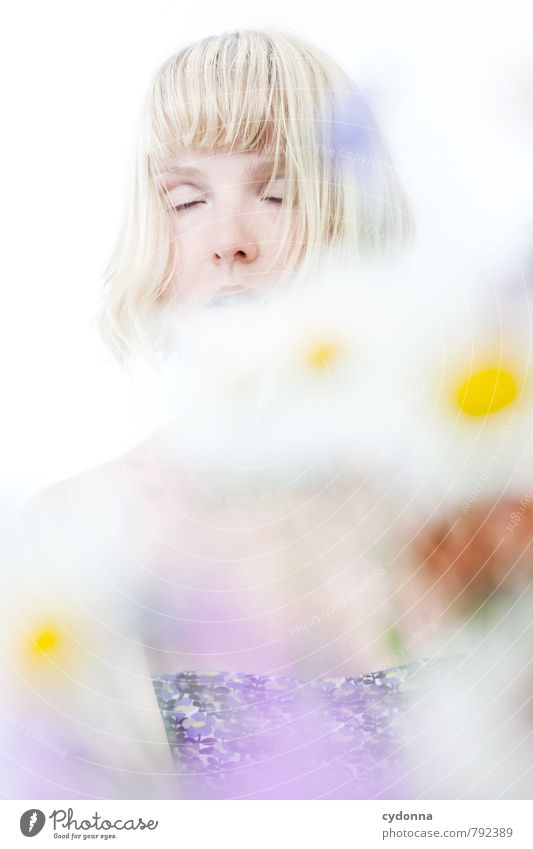 Ruhe Mensch Natur Jugendliche schön Erholung Junge Frau Blume ruhig 18-30 Jahre Erotik Erwachsene Leben Gefühle Frühling Freiheit Zeit