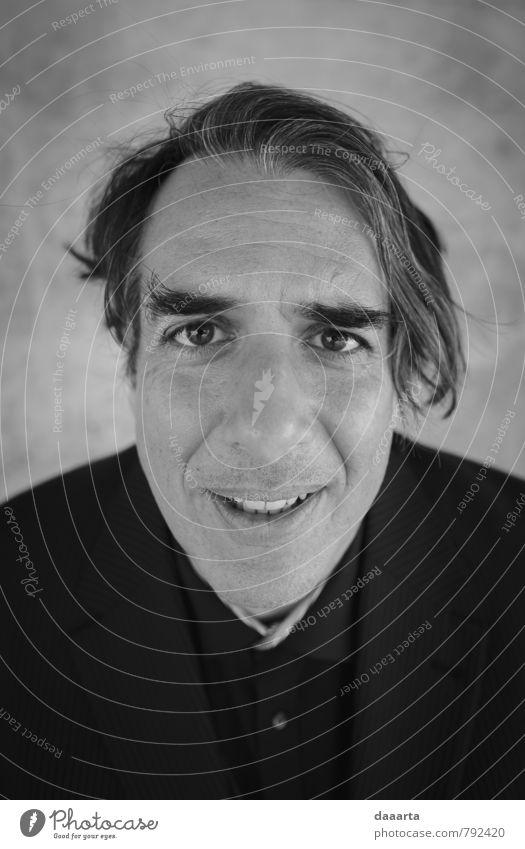 Herr verwirrt Lifestyle Stil Freude Haare & Frisuren Gesicht Sinnesorgane maskulin Mann Erwachsene 1 Mensch 45-60 Jahre Mode Anzug alt Denken sprechen glänzend
