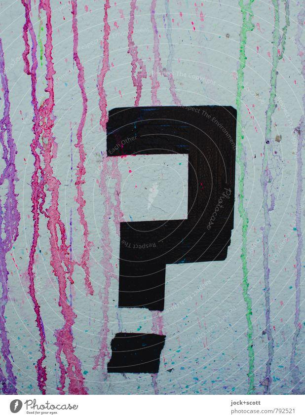 Fragezeichen Subkultur Straßenkunst Klebeband Schriftzeichen Schilder & Markierungen Graffiti Ausrufezeichen Denken eckig Fröhlichkeit trashig Kreativität Kunst