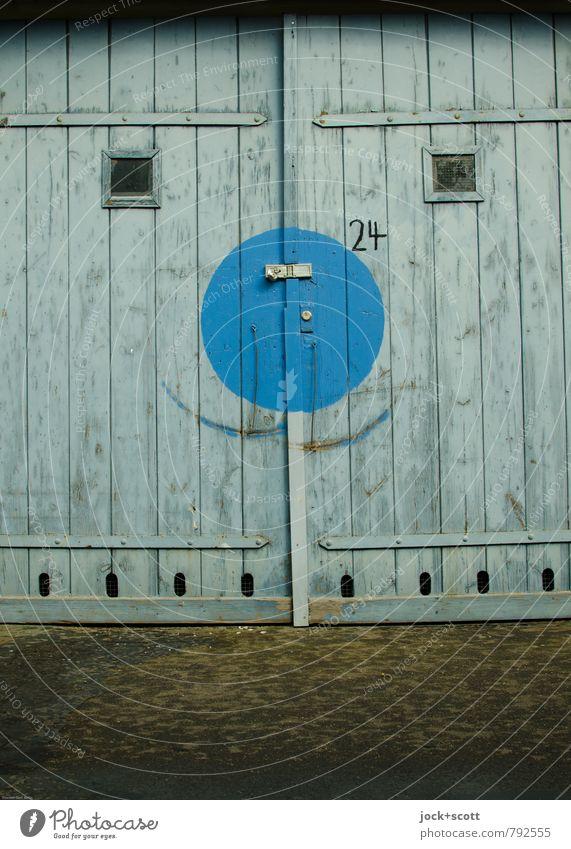 lächle wenn du es ernst meinst Sechziger Jahre Grafik u. Illustration Kreuzberg Garage Schloss Halterung Holz Ziffern & Zahlen Kreis Rechteck Bogen Lächeln