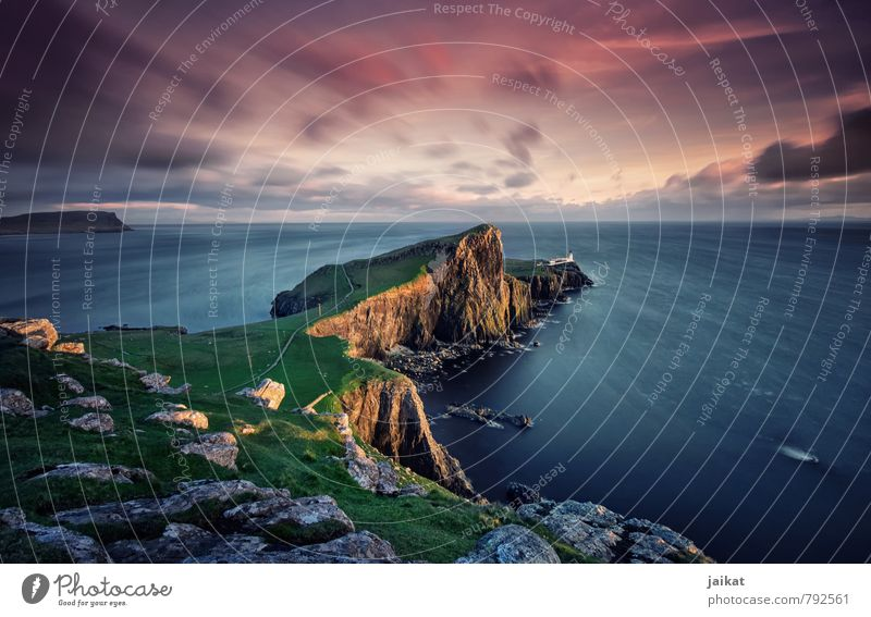 Schottischer Leuchtturm Natur Landschaft rosa Schottland Neist Point Isle of Skye Lighthouse Sonnenuntergang Abenddämmerung Hebriden