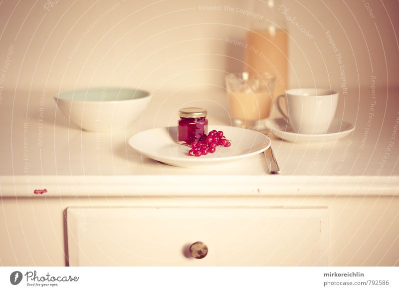 Guten Morgen Lebensmittel Marmelade Beeren Johannisbeeren Orangensaft Ernährung Essen Frühstück Bioprodukte Geschirr Teller Schalen & Schüsseln Tasse Becher
