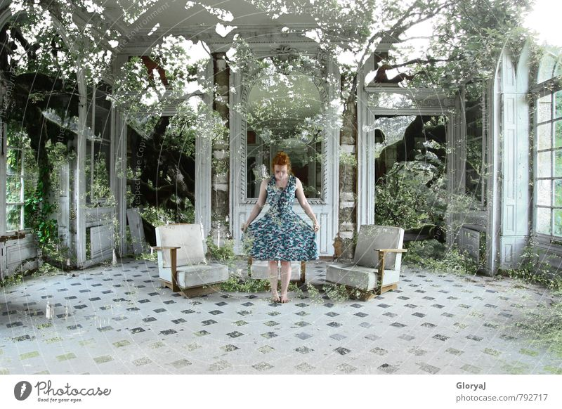 Saal der Bäume Mensch Jugendliche grün weiß Sommer Baum Junge Frau ruhig Blatt 18-30 Jahre schwarz Wald Erwachsene feminin träumen elegant