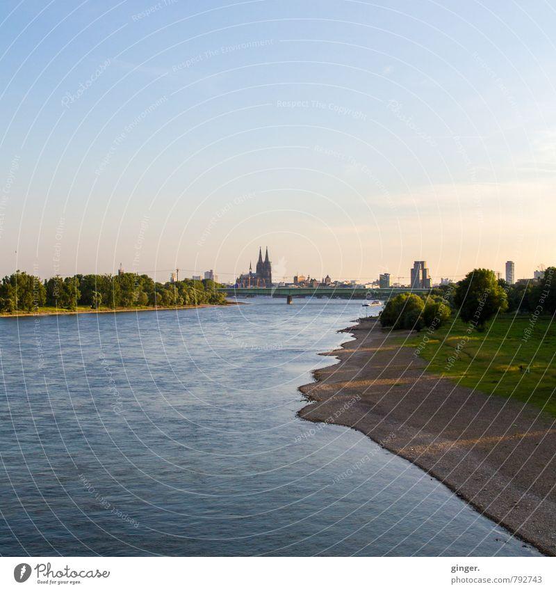 Der Rhein blau Stadt grün Wasser ruhig Landschaft Haus Ferne Küste Gebäude hell braun authentisch Kirche Streifen Brücke