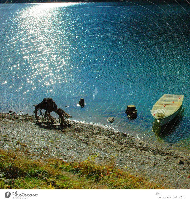 Wassermangel grasgrün See nass Reflexion & Spiegelung glänzend dunkel Gras Baum Wasserfahrzeug Anker Strand Horizont steil Baumstumpf Fischerboot Schifffahrt