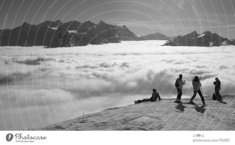 .:: über den wolken ::. Skilanglauf Skilift Wolken Ferien & Urlaub & Reisen Schweiz kalt Bergkette Skifahrer Licht Winter Himmel Mensch Skifahren normalzeit