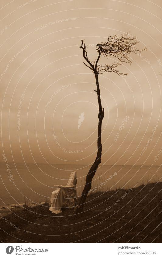 Liegestuhltristesse Natur Meer Strand ruhig Wolken Einsamkeit Traurigkeit Küste Seil Trauer Sehnsucht Möbel Verzweiflung verloren Am Rand trüb