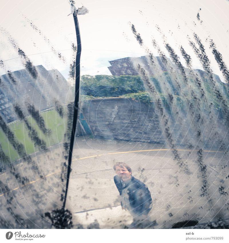 Lebensabschnitt Lifestyle Arbeitslosigkeit maskulin Junger Mann Jugendliche Erwachsene 1 Mensch 18-30 Jahre 30-45 Jahre Stadtrand Gebäude Mauer Wand Straße