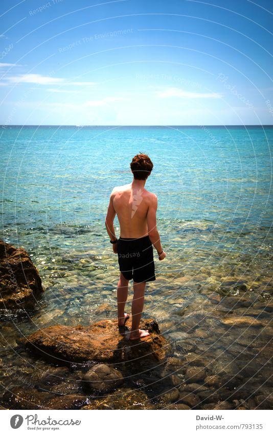 Urlaub Mensch Ferien & Urlaub & Reisen Jugendliche Wasser Sommer Meer Erholung 18-30 Jahre Junger Mann Strand Ferne Erwachsene Leben Küste Schwimmen & Baden