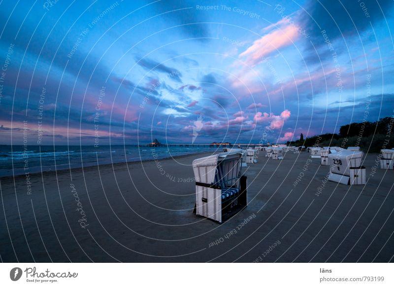 der Tag geht Himmel Wolken Strand Ostsee Strandkorb